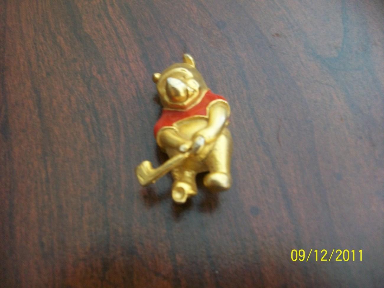 enamal metal hockey player bear pin brooch