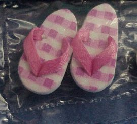 Dollhouse 3 pairs Flipflops check yel & pink dots blu By Barb NEW NRFB