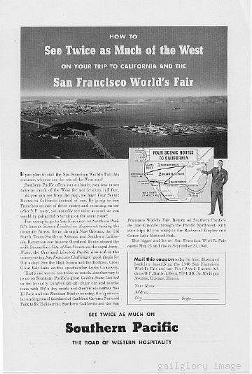 1940 Southern Pacific Lines Vintage Railroad Print Ad