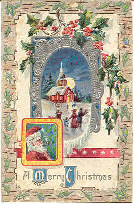 Santa Wishes You A Merry Christmas Vintage Post Card