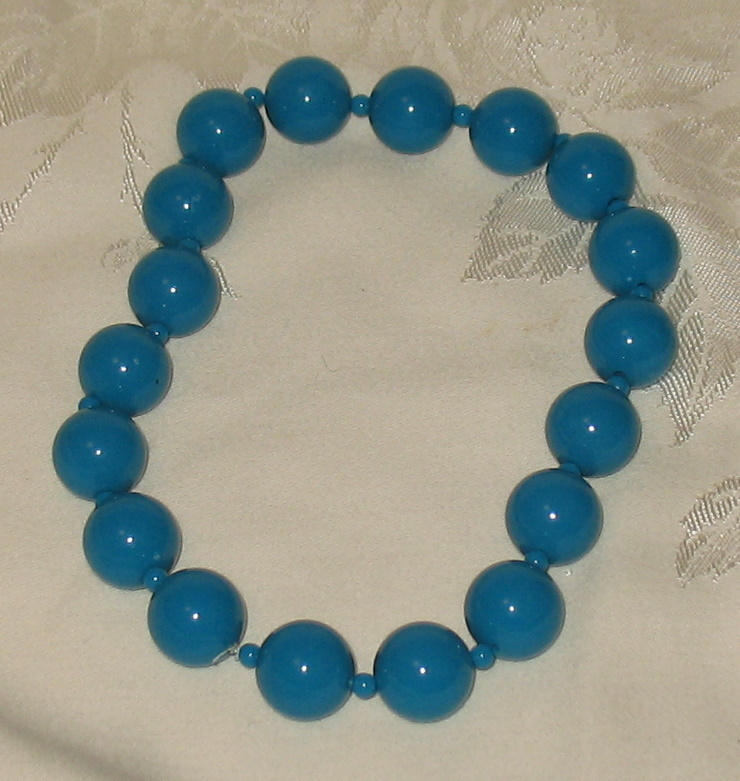 Aqua Blue Beaded Choker Necklace