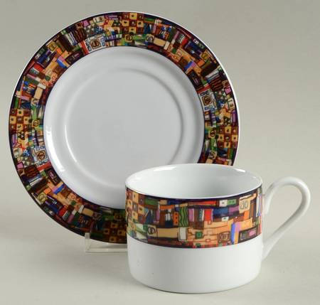 1993 Faberware by Retroneu Park Avenue 221 Porcelain Flat Cup Saucer Set 2 3/8""