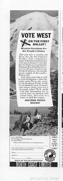 1940 Northern Pacific Railroad Logo Vintage Print Ad Vote We