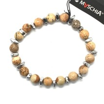 SILVER 925 BRACELET WITH HEMATITE AND JASPER BWI-3 MADE IN ITALY BY MASCHIA image 1