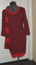 Bobbie Brooks Knit Sweater Dress Size L - Xl Red Black Scarf Nwt - $21.99