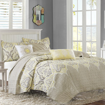 Contemporary Modern Yellow Taupe Damask Print Soft Coverlet Quilt Set Be... - $117.31+