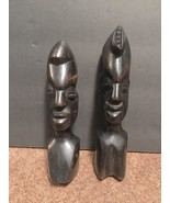 """Black African Culture Wooden Statues Set 7.5"""" & 6.5"""" Home Decor Tiki Heads - $27.10"""