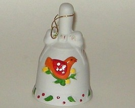 Hand Painted Ceramic Porcelain Bisque Christmas Bird Bell - $5.00