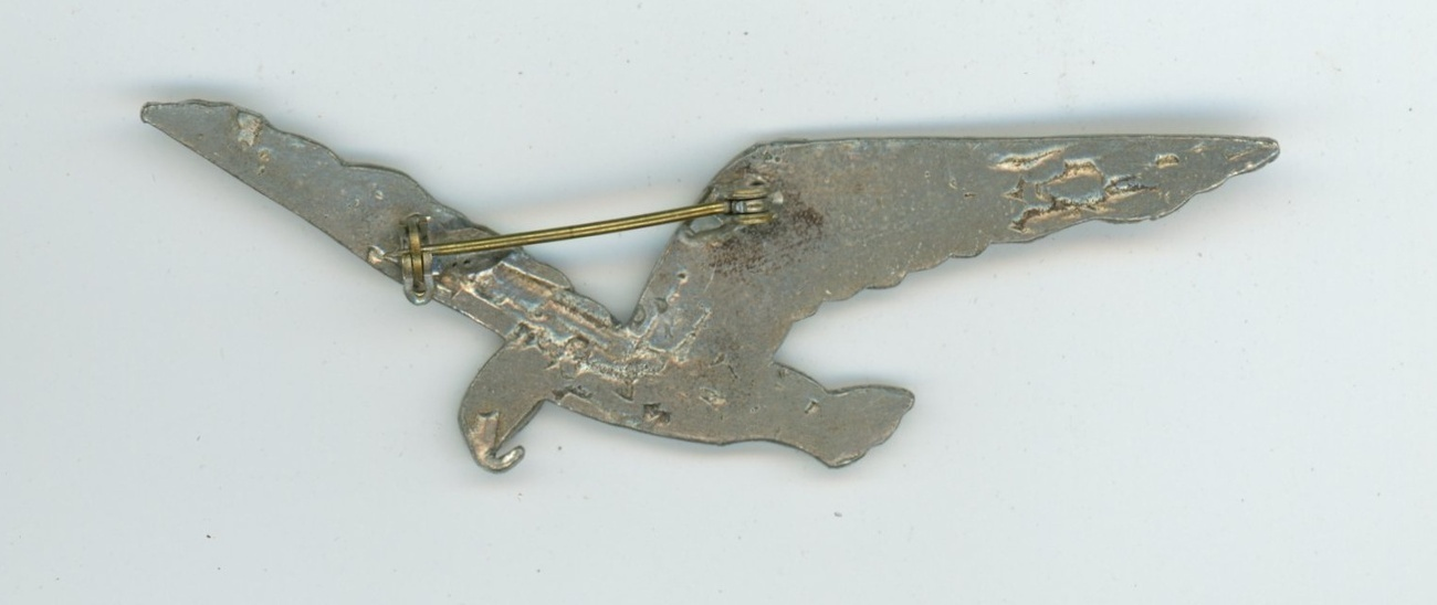 vintage pewter eagle bird brooch pin hand worked 1950's