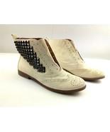 SAM EDELMAN Women Boots Joss 10 White Canyon/Ivory Leather Laceless Stud... - $83.97