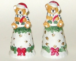 Two Matching Teddy Bear Porcelain Bisque Christmas Hand Bells - $9.00