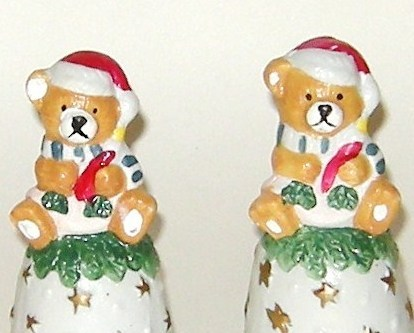 Two Matching Teddy Bear Porcelain Bisque Christmas Hand Bells