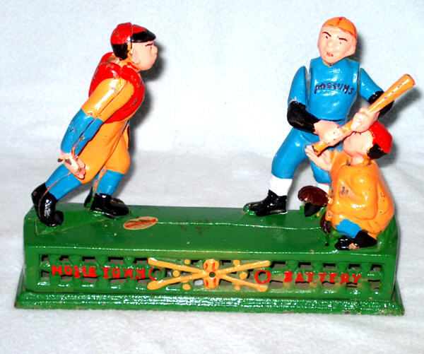 CAST IRON MECHANICAL BANK HOMETOWN BASEBALL BATTERY COIN CATCHER