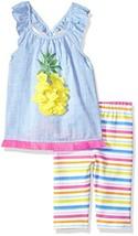 Mud Pie Baby Girls Pineapple Flutter Sleeve Tunic and Capri 2 Piece Play... - $30.79