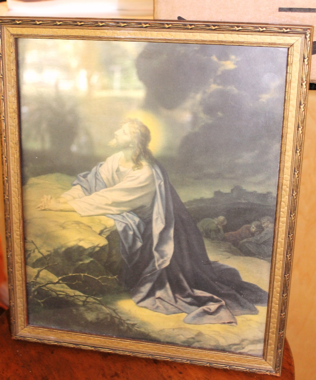 Vintage Framed Print of Jesus praying in the Garden of Gethsemane
