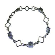 Natural Green Amethyst Silver Bracelets For Women Gift Link Style Len 6.... - $40.79