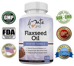 Amate Life Organic Flaxseed Oil 1000mg with Omega 3 6 9 for Cardiovascul... - $11.99