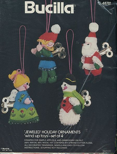 Primary image for Bucilla Jeweled WIND UP TOYS Christmas Felt Ornament Kit