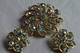 Vintage Aurora Borealis Rhinestone Brooch & Earrings Set--New Without Tags - $30.99