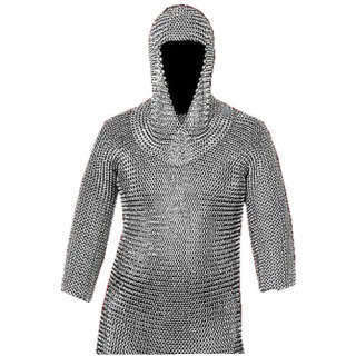 "17 "" x 31 "" Silver Medieval Chain Mail Armor Set Armor Chainmail Shirt with Coif"