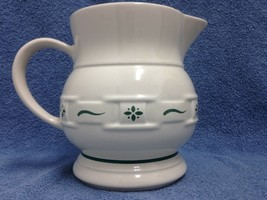 Longaberger Pottery Pitcher Large 64 Oz Woven Traditions White on Green ... - $23.60