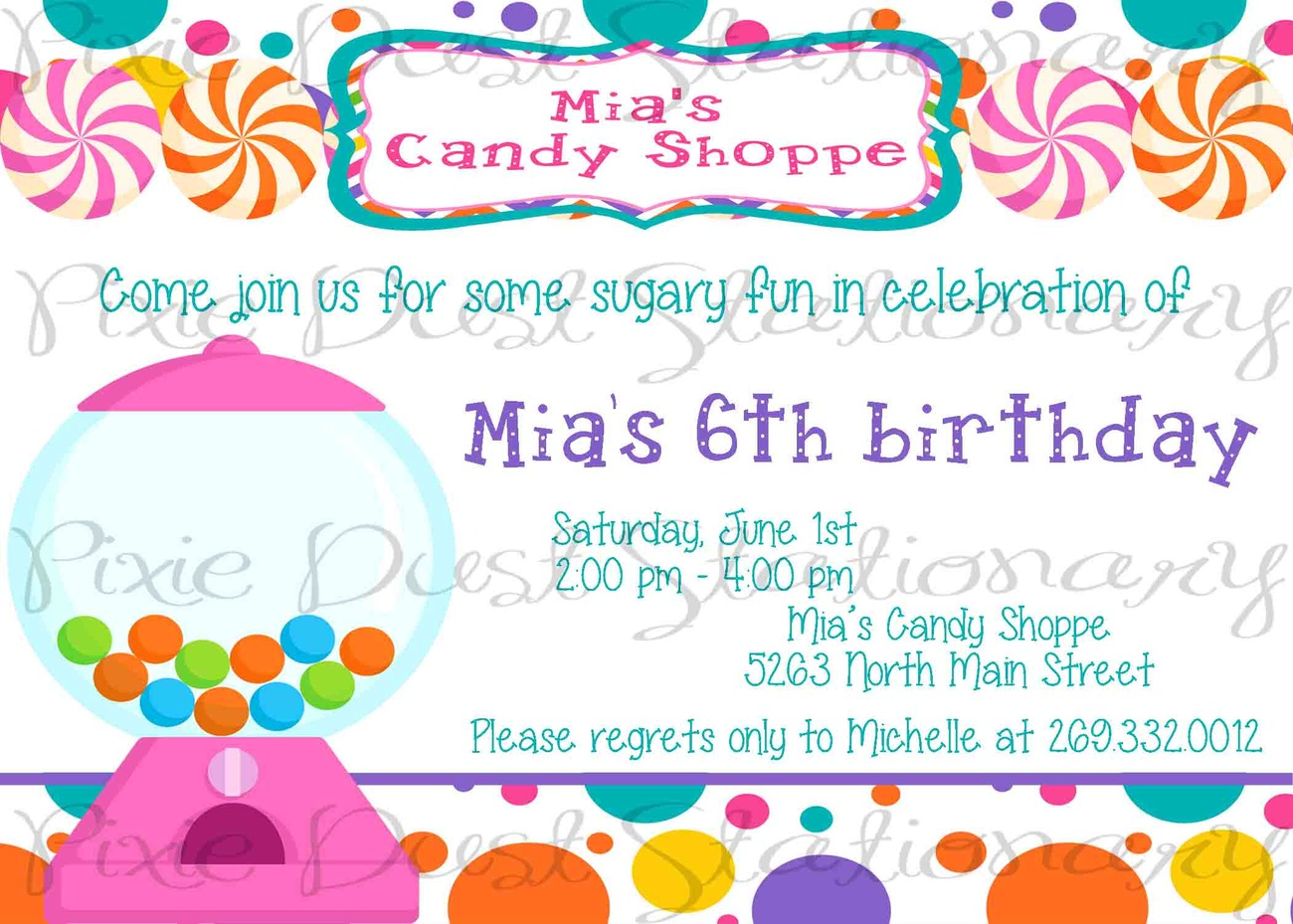 Candy Shoppe Theme Party Invitations