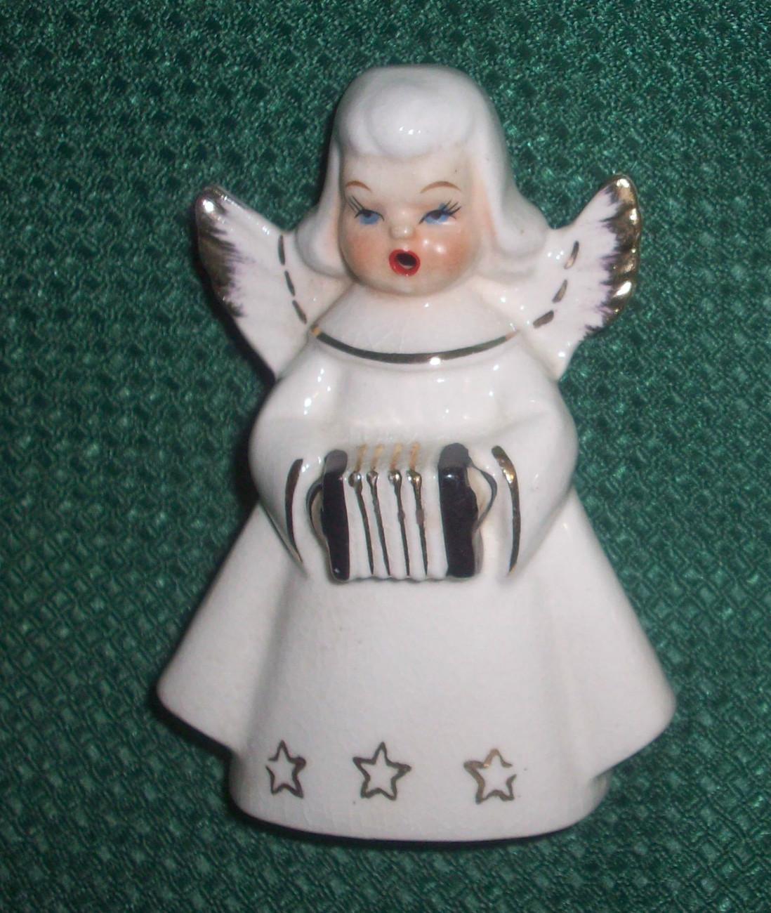 Vintage Ceramic White Angel Singing Musician Figurine with Accordian