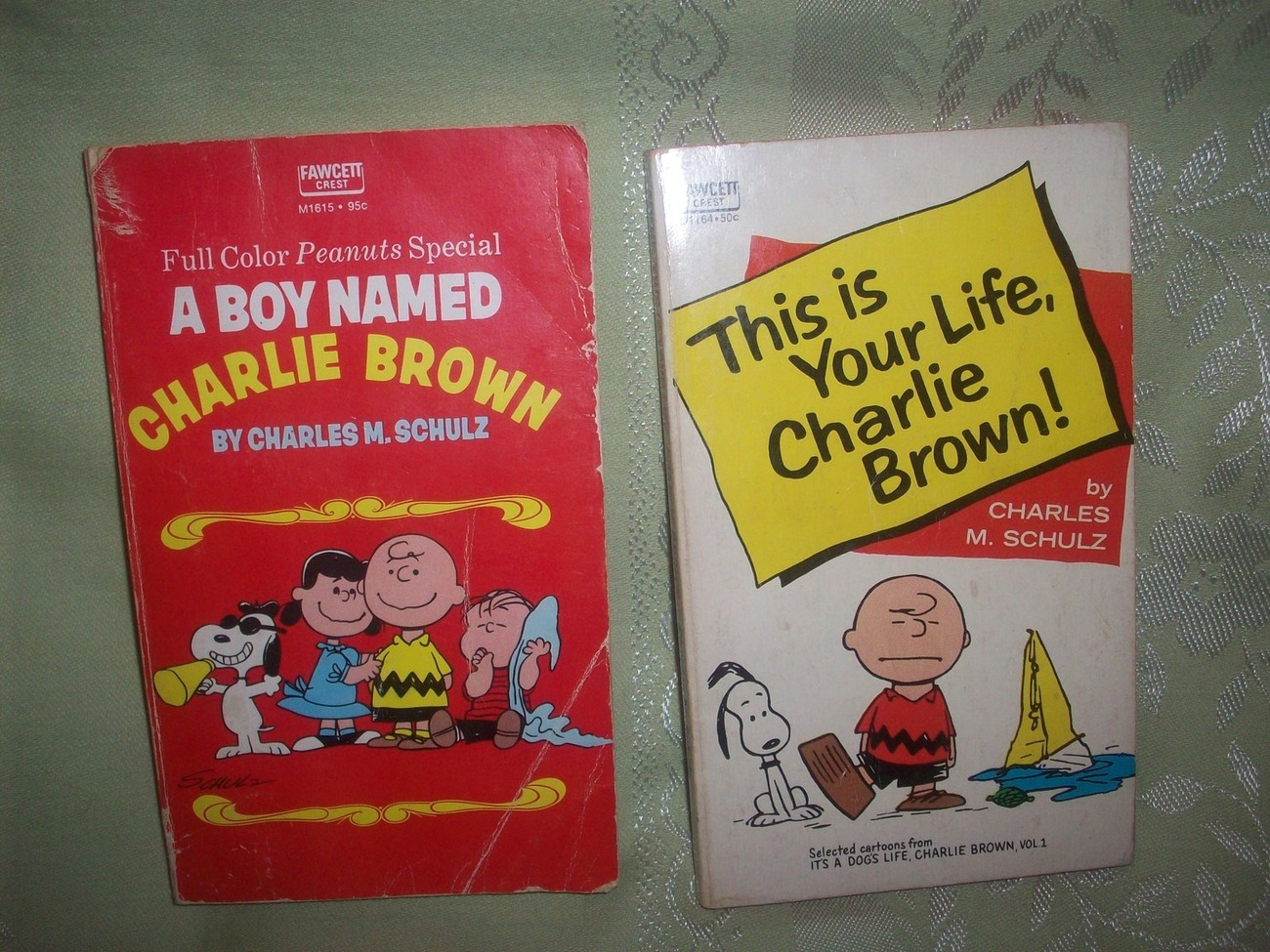 Vintage Pair of Peanuts Charlie Brown SC Paperback Books + Bonus Coloring Book