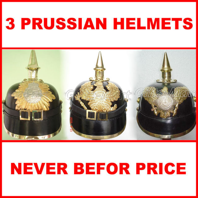 3x German Prussian Spiked Pickelhaube Helmet, WW1 Leather, Lowest Bargain Price