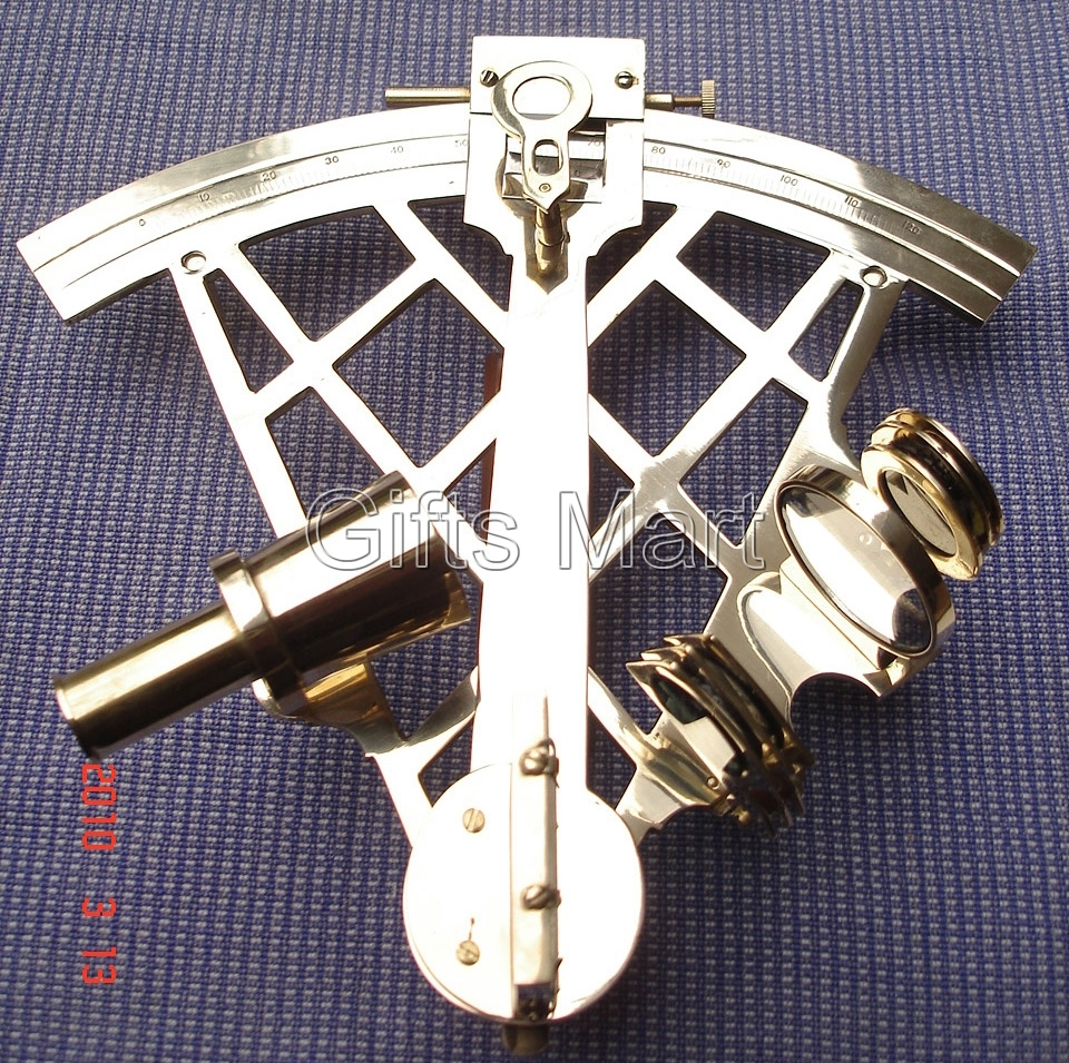 """9"""" SEXTANT SOLID BRASS NAUTICAL Survey, Ship Telescope - PIRATE NAVIGATION Gift"""