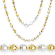 Women's Stylish Ball Faceted Bead Chain Necklace Italy 925 Silver 14K YG... - $127.45+