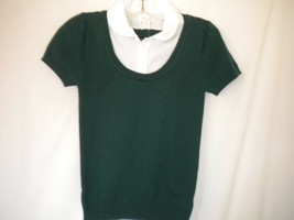 Place 1989 Size Medium 7/8 Spruceshade Short Sleeve Layered Look Girls Sweater - $5.93