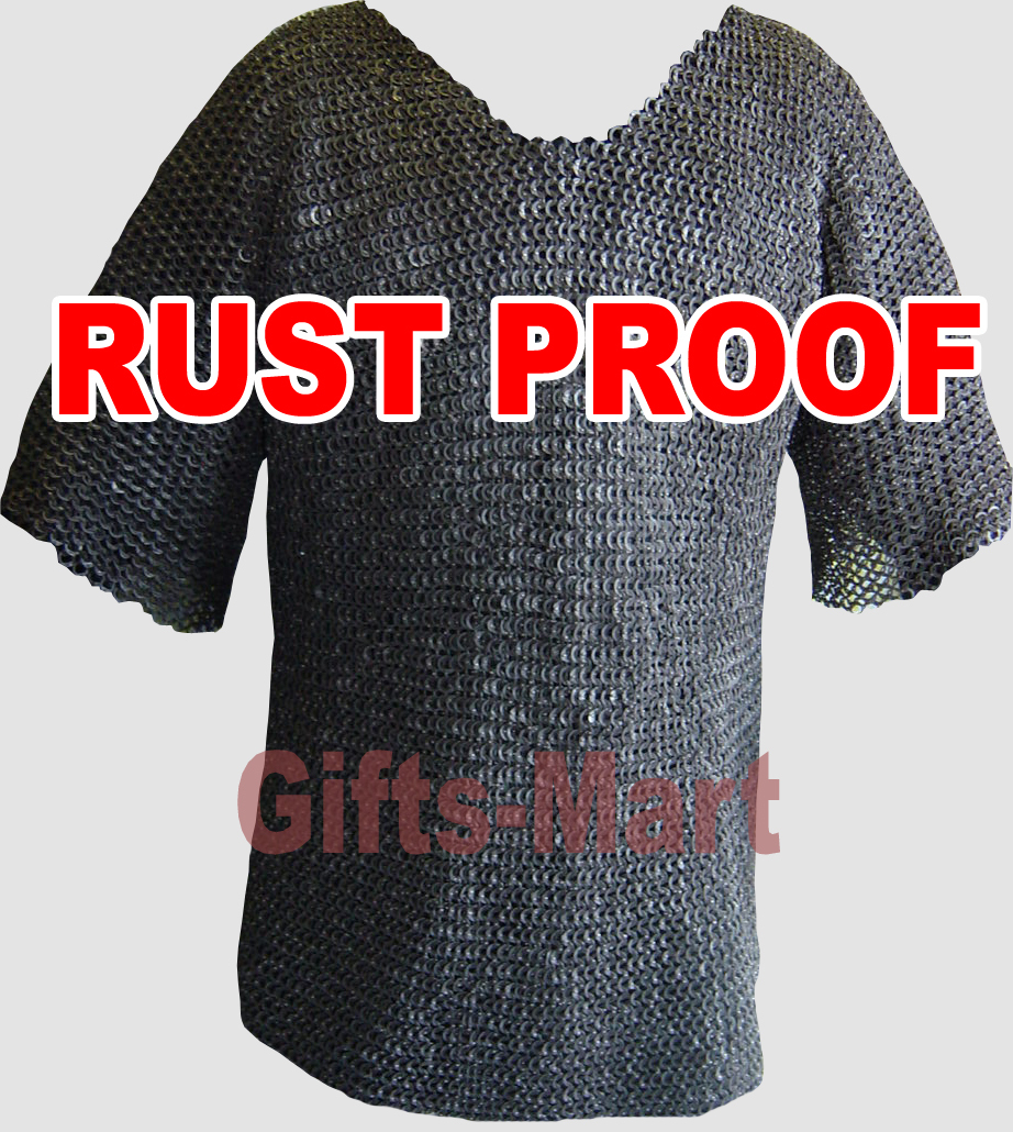 9mm MEDIEVAL SS FLAT ROUND RIVETED CHAINMAIL HAUBERK L  Size Stainless Armor