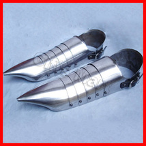 ANCIENT SOLID STEEL ARMOR SHOES COLLECTIBLE MILITARIA GOTHIC ARMOUR SHOE... - $74.99