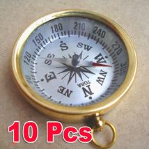 ANTIQUE POCKET COMPASS LOT OF 10 UNITS BRASS NAUTICAL COMPASS COLLECTIBL... - $50.61