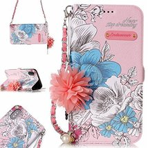 iPhone X Case,iPhone X Wallet case, GloryShop PU Leather Flowers Wallet ... - $7.91