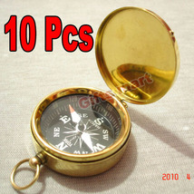 ANTIQUE POCKET COMPASS W/LID LOT OF 10 UNITS BRASS NAUTICAL COMPASS COLL... - $55.49