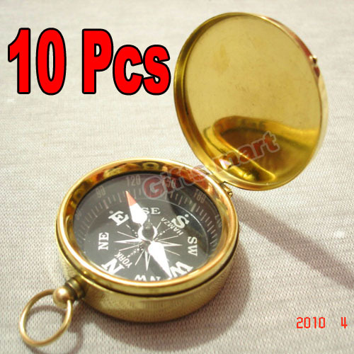 ANTIQUE POCKET COMPASS W/LID LOT OF 10 UNITS BRASS NAUTICAL COMPASS COLLECTIBLE