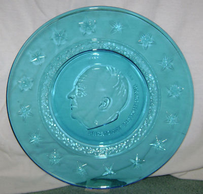 "Wheaton Clear Blue President Dwight D. Eisenhower Plate ""8 Stars"