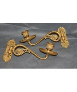 Pair French Empire Fire Gilt Single Candle Sconces - $450.00