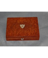 Antique French Burl Wood Brass and Mother of Pearl Box - $225.00