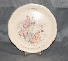 French J & G Luniville Pottery Plate Ice Skating - $50.00