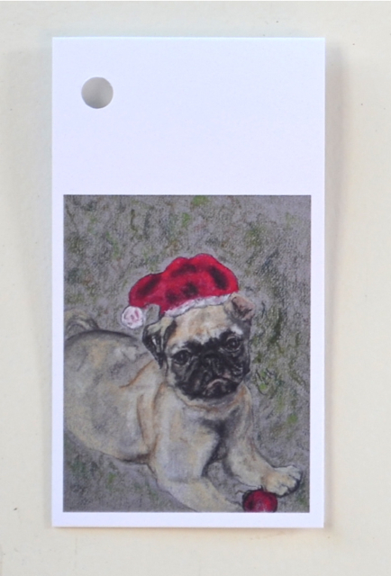 Pug Dog Art Christmas Holiday Gift Tags Solomon