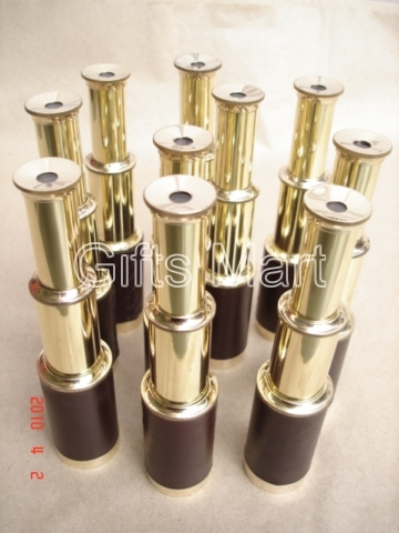 BRASS TELESCOPE Leather Bounded LOT OF 100 NAUTICAL GIFT VINTAGE MARINE REPLICA
