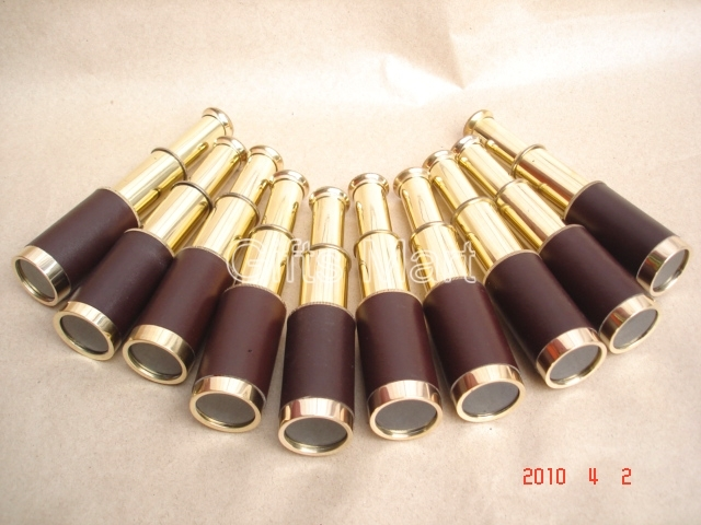 BRASS TELESCOPE Leather Bounded LOT OF 50 - NAUTICAL GIFT VINTAGE MARINE REPLICA