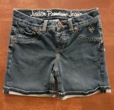 Justice Girls Stretch Shorts Size 10 Regular Blue Low Cuffed Dark Wash  - $14.99