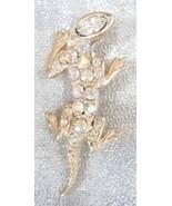 Elegant Iridescent Rhinestone Golden Salamander Brooch 1950s vintage - $14.80