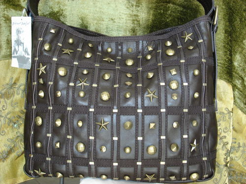 Betsey Johnson Lucky Stars Brown Leather Bucket FREE SHI