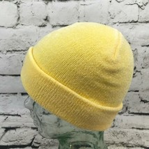 Dorfman Pacific OSFA Hat Yellow Stretch Knit Soft Velour Roll-Up Beanie Warm Cap image 2