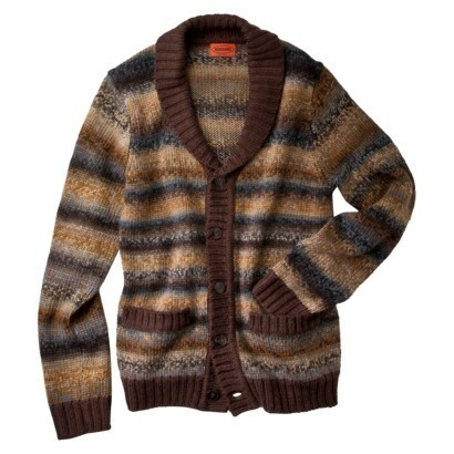 Primary image for MISSONI for Target Men's BROWN wool SPACE DYE shawl CARDIGAN sweater S L XL NWT